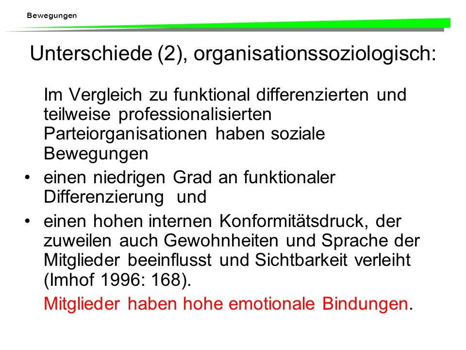 Unterschiede (2), organisationssoziologisch: