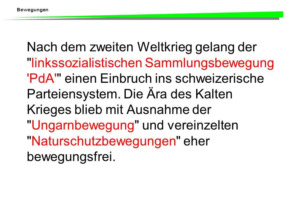 Nach dem zweiten Weltkrieg gelang der linkssozialistischen Sammlungsbewegung PdA einen Einbruch ins schweizerische Parteiensystem.