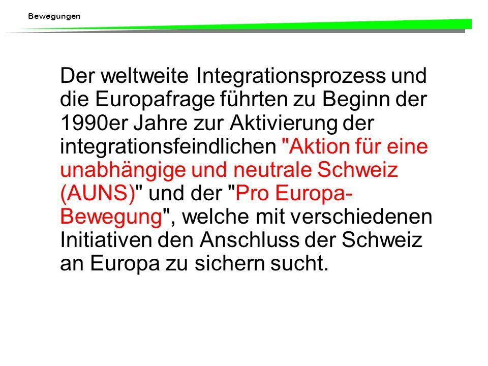 Der weltweite Integrationsprozess und die Europafrage führten zu Beginn der 1990er Jahre zur Aktivierung der integrationsfeindlichen Aktion für eine unabhängige und neutrale Schweiz (AUNS) und der Pro Europa-Bewegung , welche mit verschiedenen Initiativen den Anschluss der Schweiz an Europa zu sichern sucht.