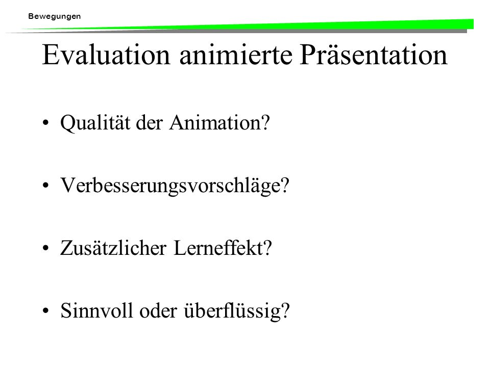 Evaluation animierte Präsentation