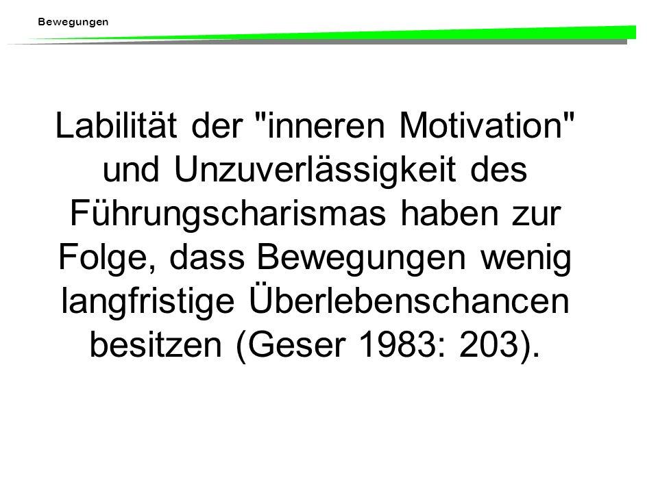 Labilität der inneren Motivation und Unzuverlässigkeit des Führungscharismas haben zur Folge, dass Bewegungen wenig langfristige Überlebenschancen besitzen (Geser 1983: 203).