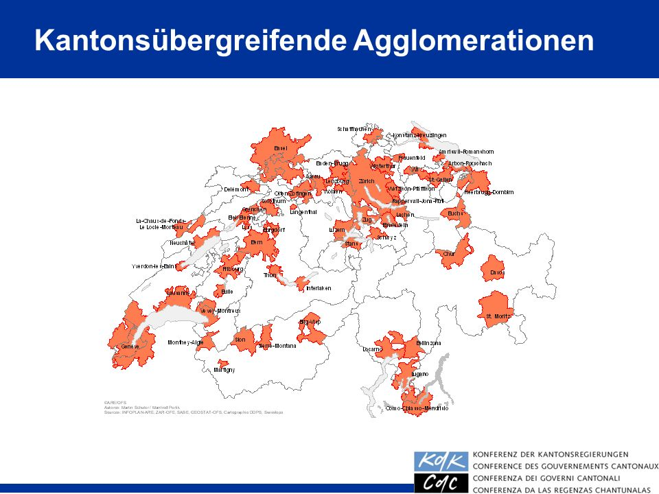 Kantonsübergreifende Agglomerationen
