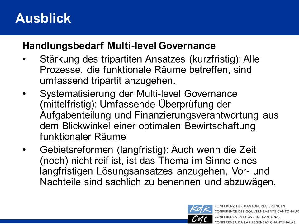 Ausblick Handlungsbedarf Multi-level Governance