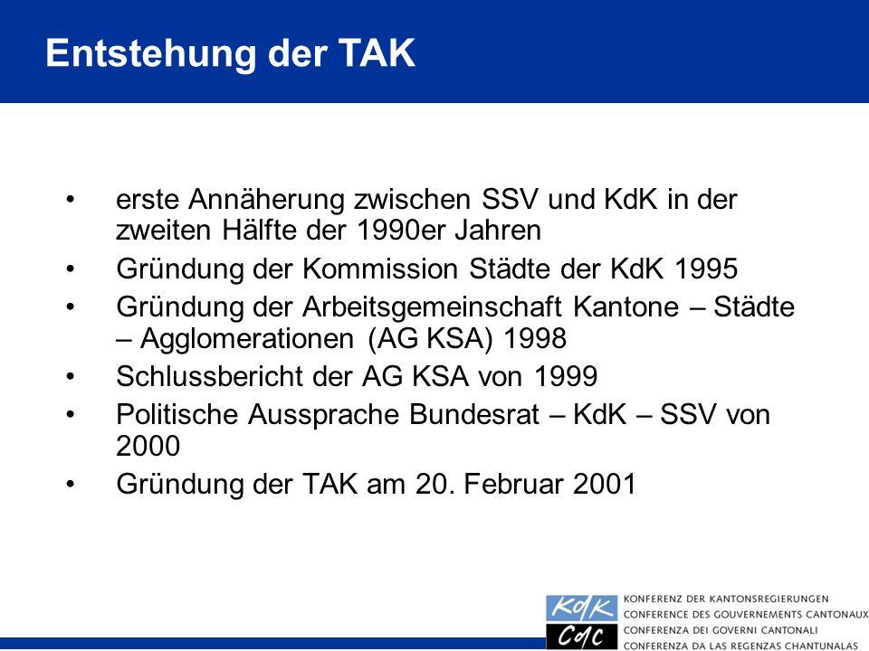 Entstehung der TAK erste Annäherung zwischen SSV und KdK in der zweiten Hälfte der 1990er Jahren. Gründung der Kommission Städte der KdK 1995.