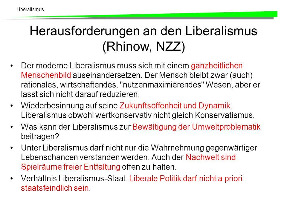 Herausforderungen an den Liberalismus (Rhinow, NZZ)