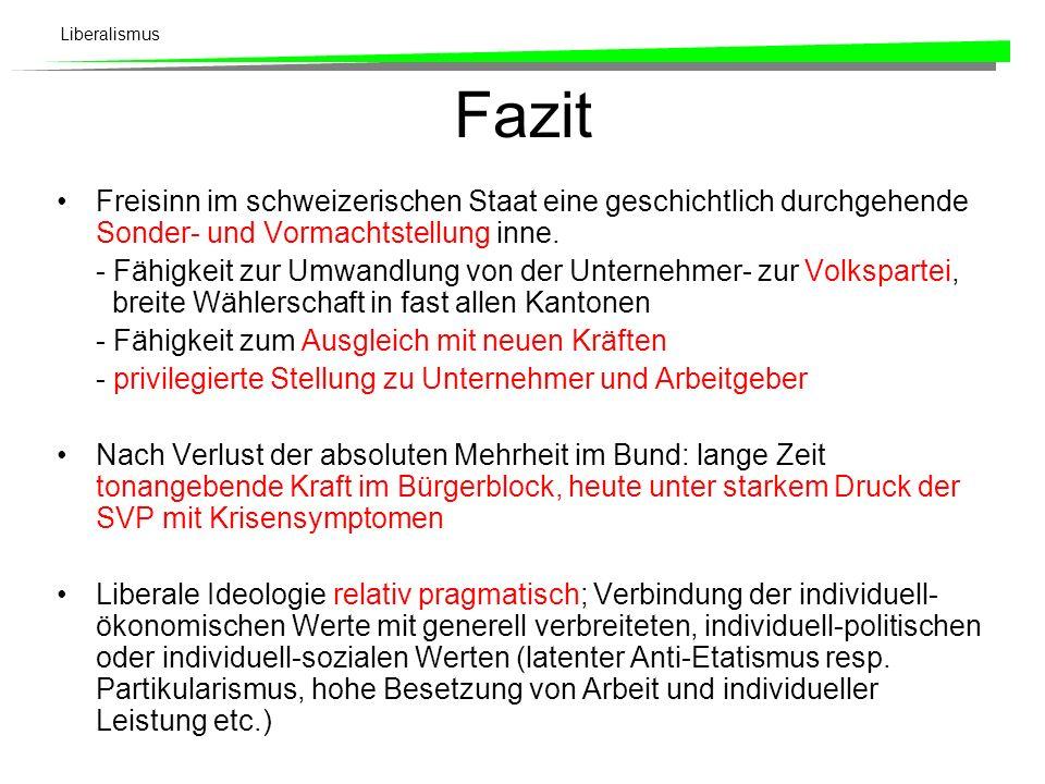 Fazit Freisinn im schweizerischen Staat eine geschichtlich durchgehende Sonder- und Vormachtstellung inne.