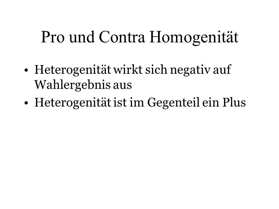 Pro und Contra Homogenität