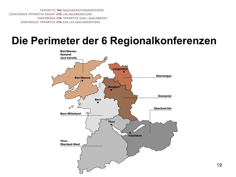 Die Perimeter der 6 Regionalkonferenzen