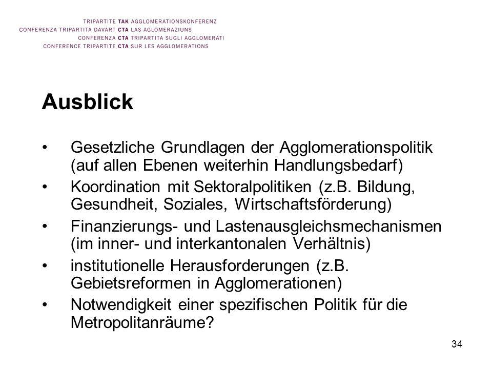 Ausblick Gesetzliche Grundlagen der Agglomerationspolitik (auf allen Ebenen weiterhin Handlungsbedarf)