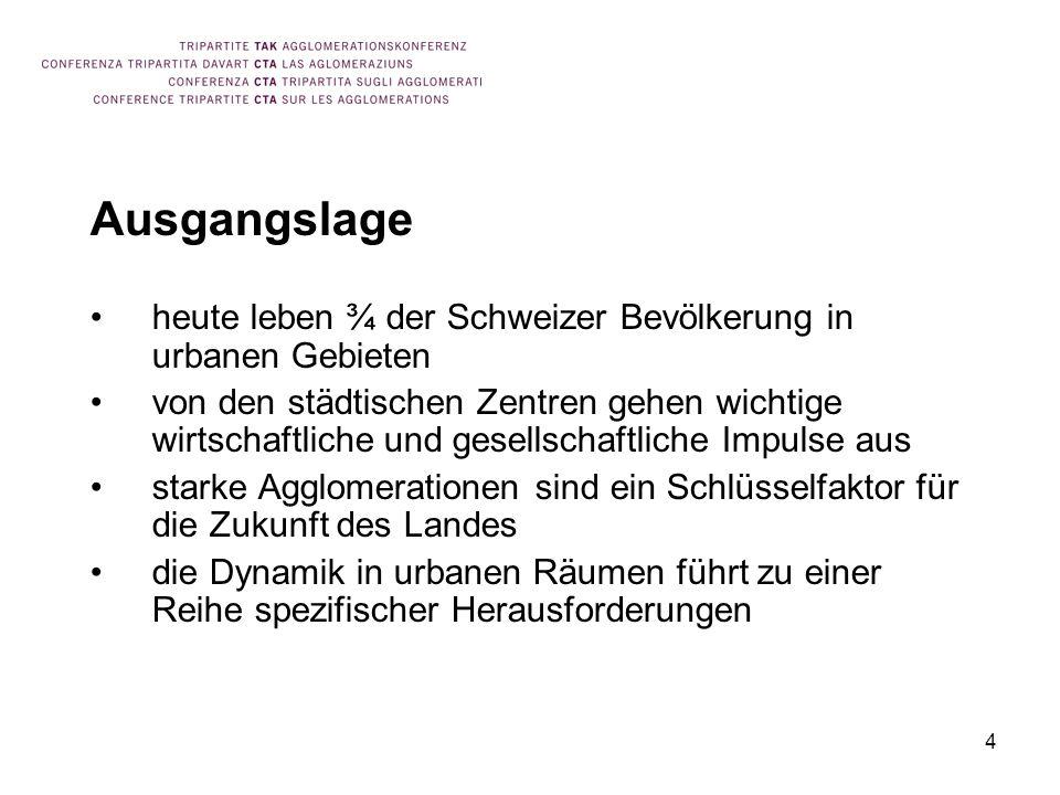 Ausgangslage heute leben ¾ der Schweizer Bevölkerung in urbanen Gebieten.