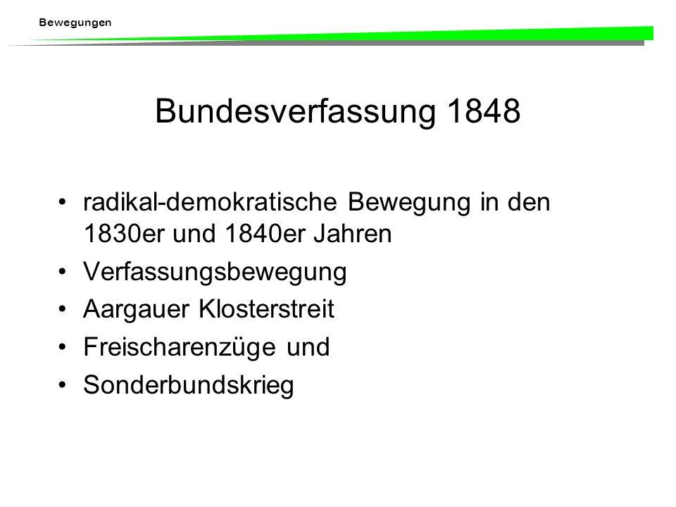 Bundesverfassung 1848 radikal-demokratische Bewegung in den 1830er und 1840er Jahren. Verfassungsbewegung.