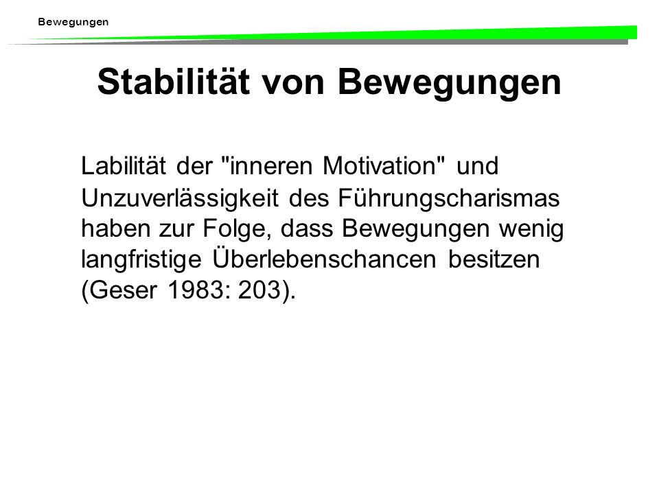 Stabilität von Bewegungen