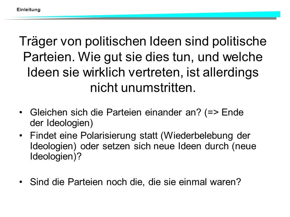 Träger von politischen Ideen sind politische Parteien