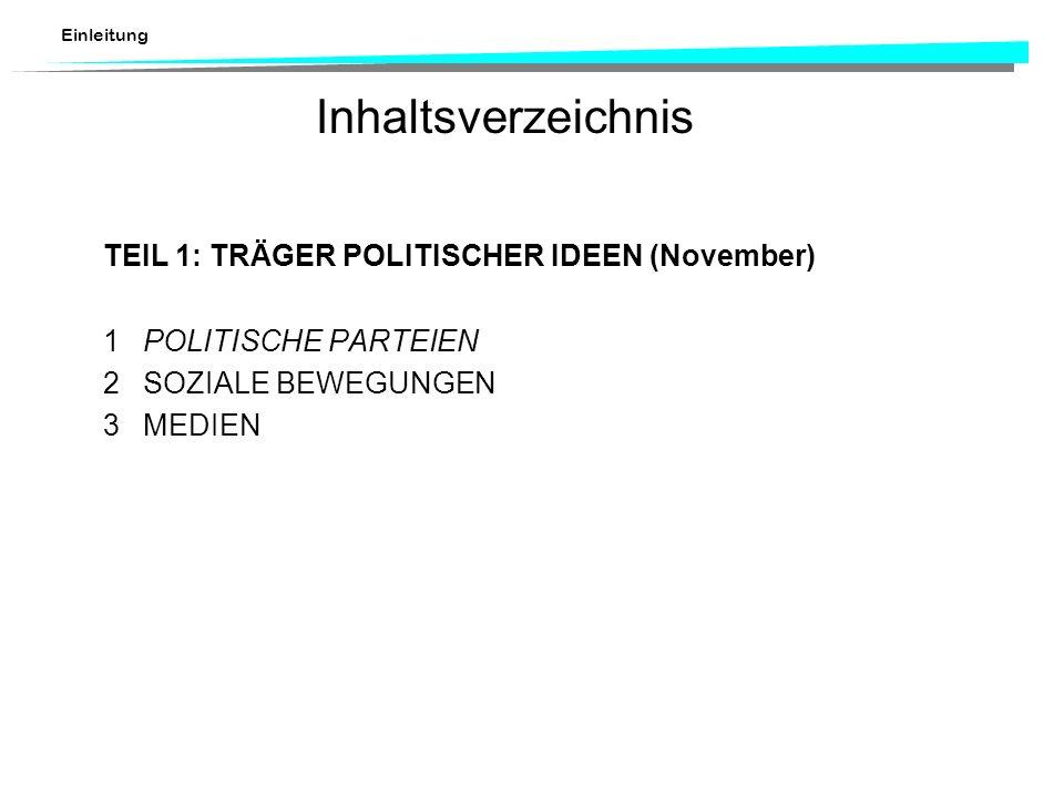 Inhaltsverzeichnis TEIL 1: TRÄGER POLITISCHER IDEEN (November)