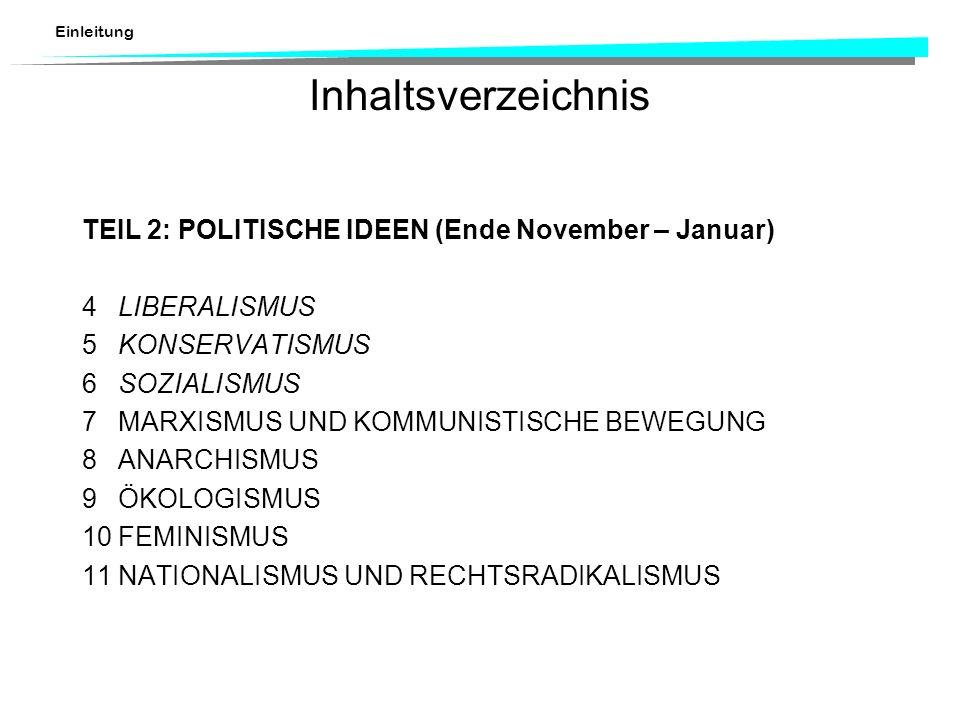 Inhaltsverzeichnis TEIL 2: POLITISCHE IDEEN (Ende November – Januar)