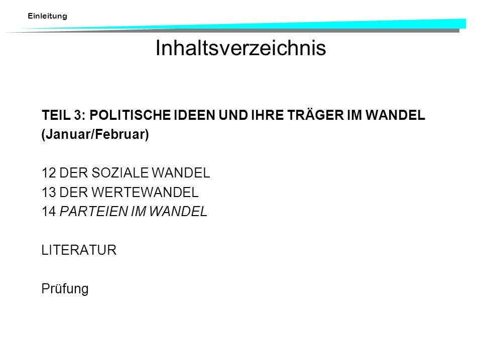 Inhaltsverzeichnis TEIL 3: POLITISCHE IDEEN UND IHRE TRÄGER IM WANDEL