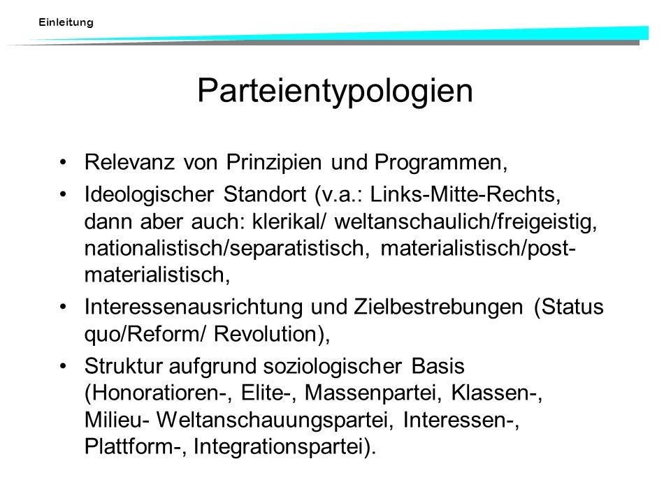Parteientypologien Relevanz von Prinzipien und Programmen,