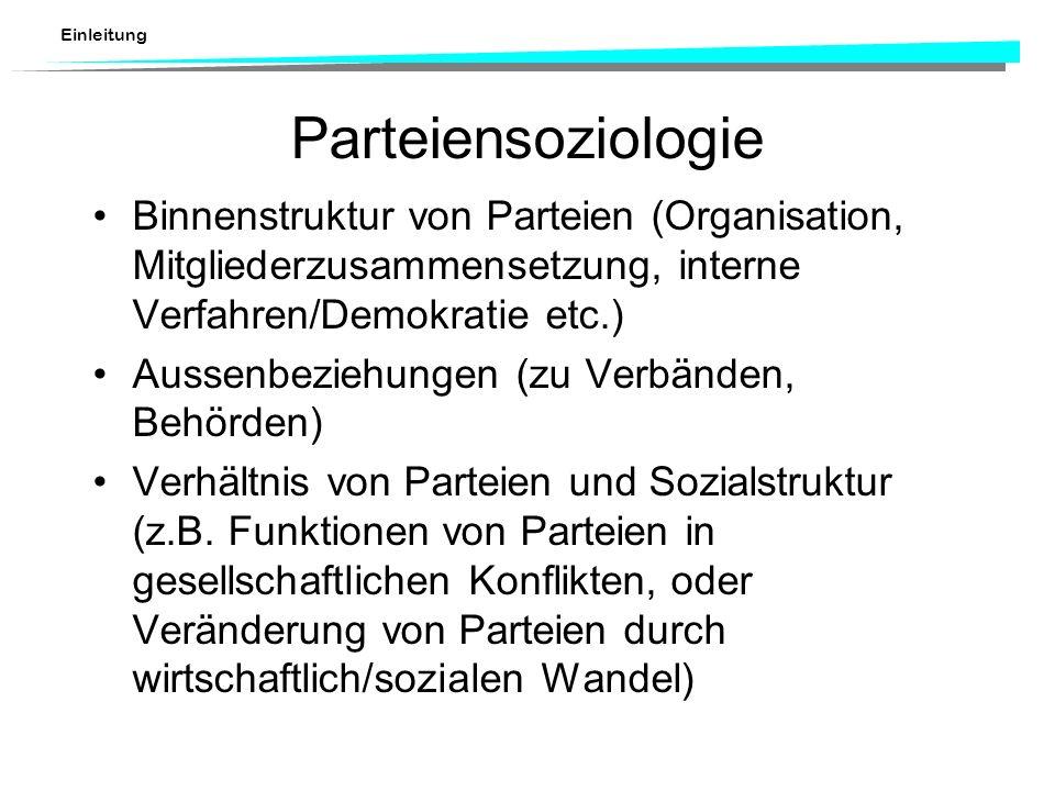 Parteiensoziologie Binnenstruktur von Parteien (Organisation, Mitgliederzusammensetzung, interne Verfahren/Demokratie etc.)
