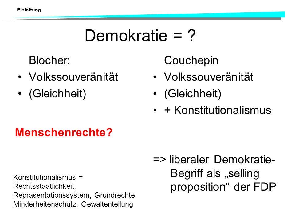 Demokratie = Blocher: Volkssouveränität (Gleichheit) Couchepin