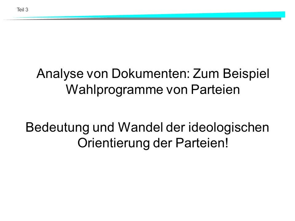 Analyse von Dokumenten: Zum Beispiel Wahlprogramme von Parteien