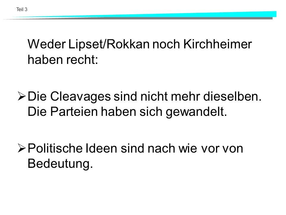 Weder Lipset/Rokkan noch Kirchheimer haben recht:
