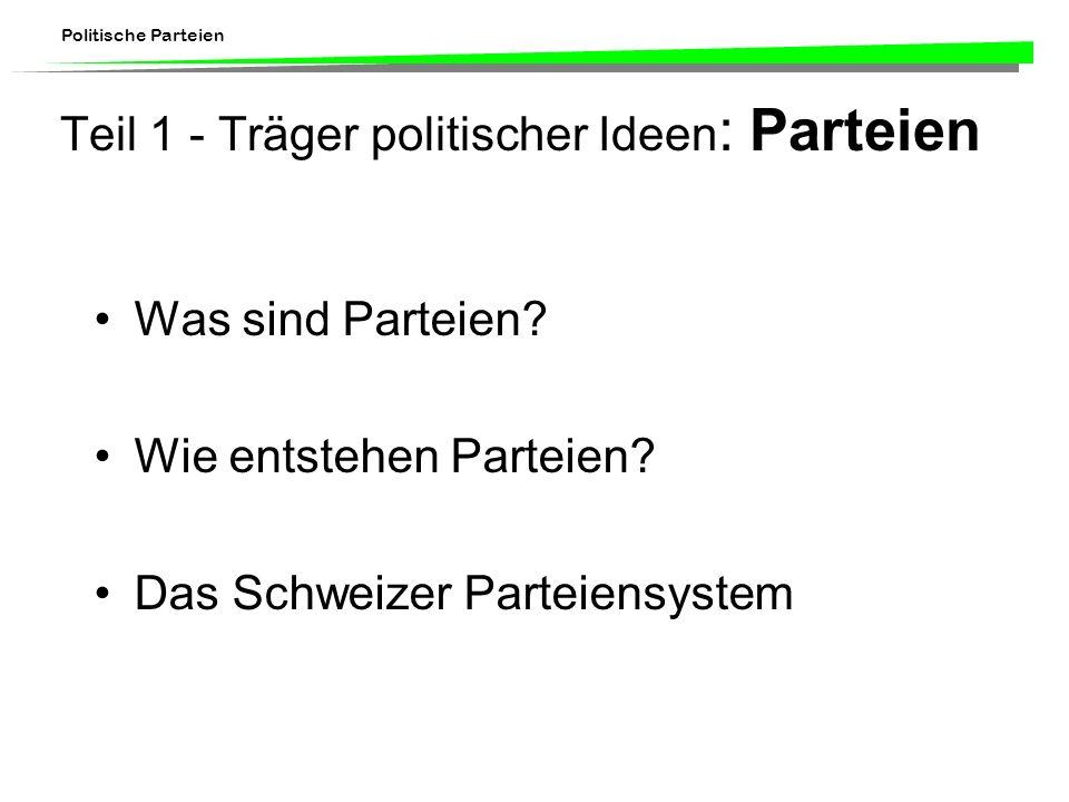 Teil 1 - Träger politischer Ideen: Parteien