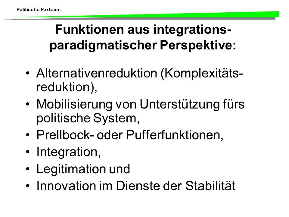 Funktionen aus integrations-paradigmatischer Perspektive: