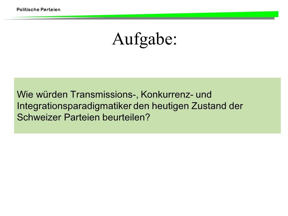 Aufgabe: Wie würden Transmissions-, Konkurrenz- und Integrationsparadigmatiker den heutigen Zustand der Schweizer Parteien beurteilen