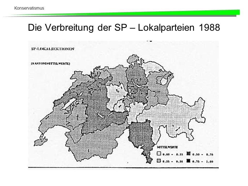 Die Verbreitung der SP – Lokalparteien 1988