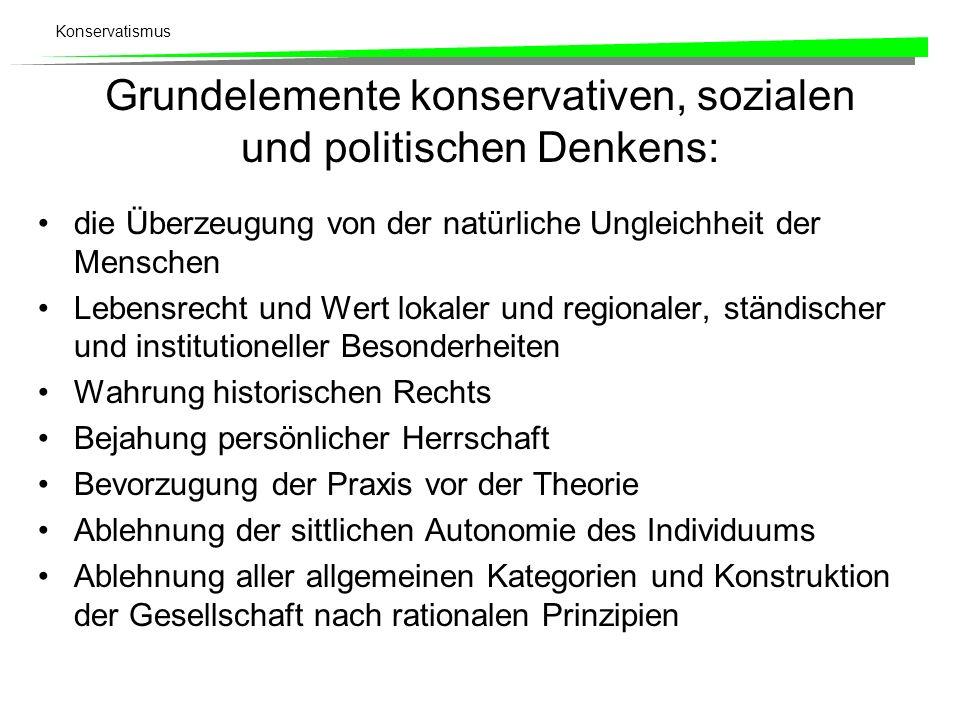 Grundelemente konservativen, sozialen und politischen Denkens: