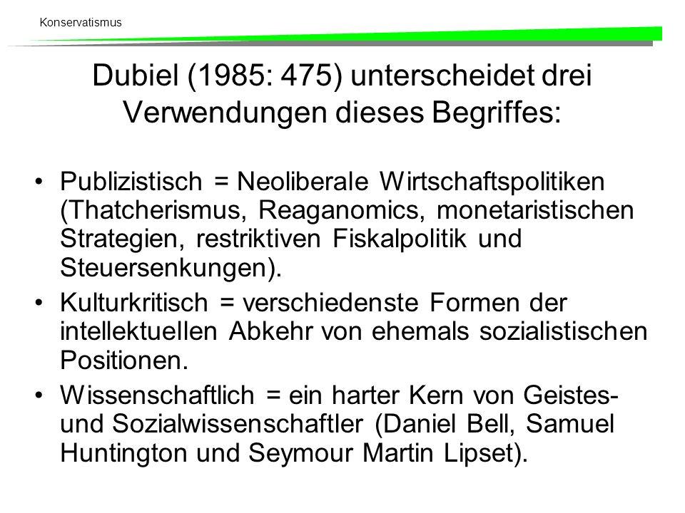 Dubiel (1985: 475) unterscheidet drei Verwendungen dieses Begriffes: