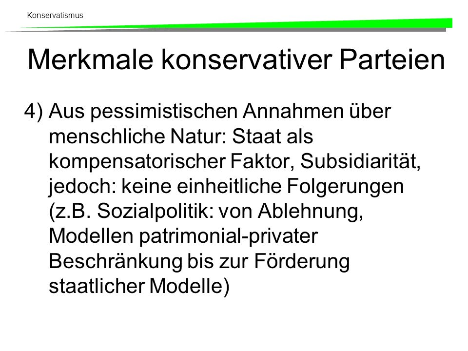 Merkmale konservativer Parteien
