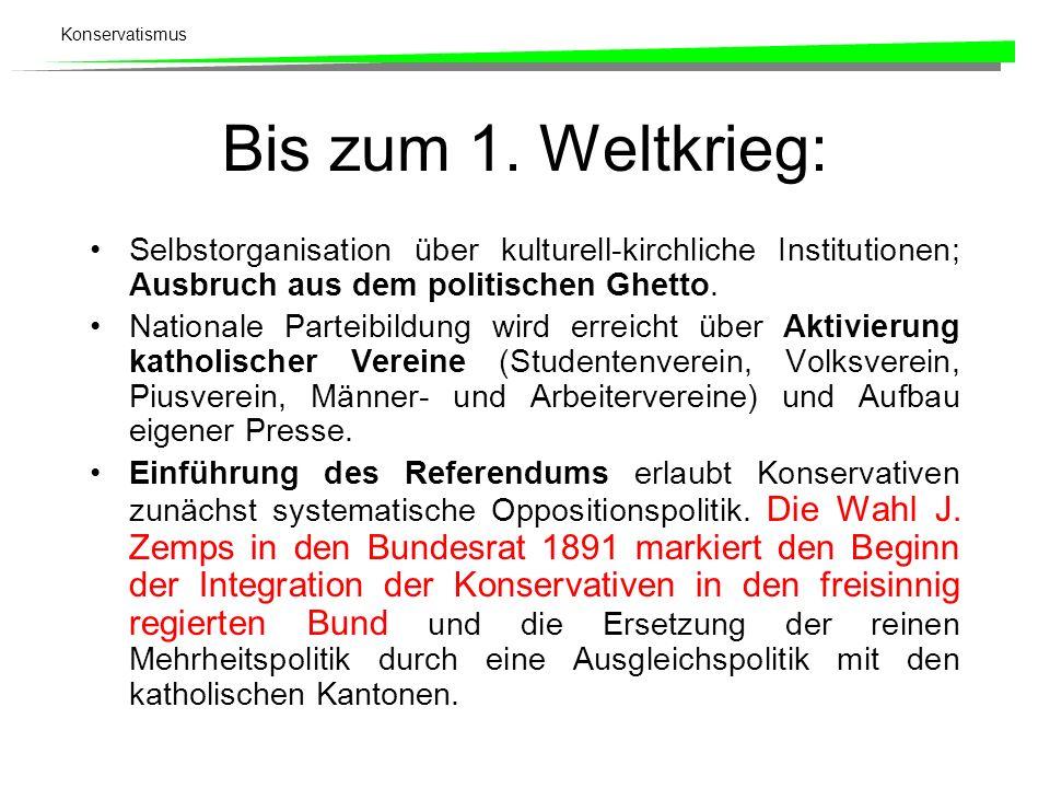 Bis zum 1. Weltkrieg: Selbstorganisation über kulturell-kirchliche Institutionen; Ausbruch aus dem politischen Ghetto.