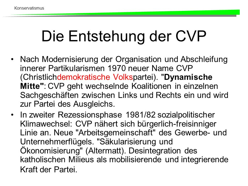 Die Entstehung der CVP