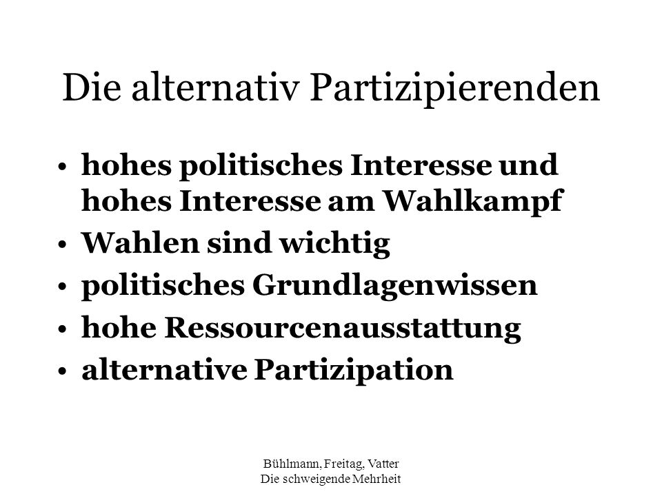 Die alternativ Partizipierenden