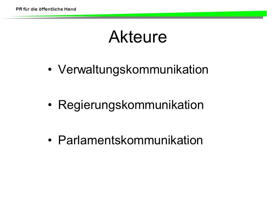 Akteure Verwaltungskommunikation Regierungskommunikation