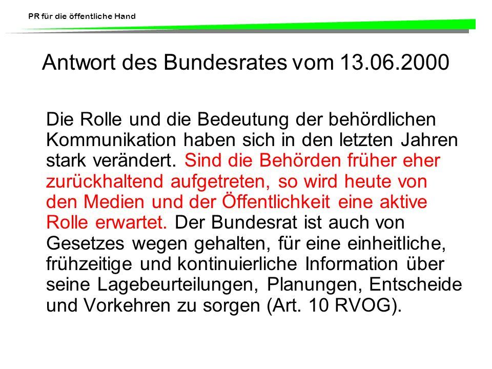 Antwort des Bundesrates vom 13.06.2000