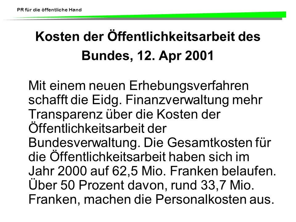 Kosten der Öffentlichkeitsarbeit des Bundes, 12. Apr 2001