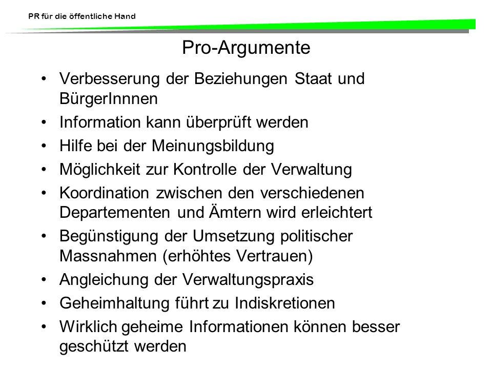 Pro-Argumente Verbesserung der Beziehungen Staat und BürgerInnnen