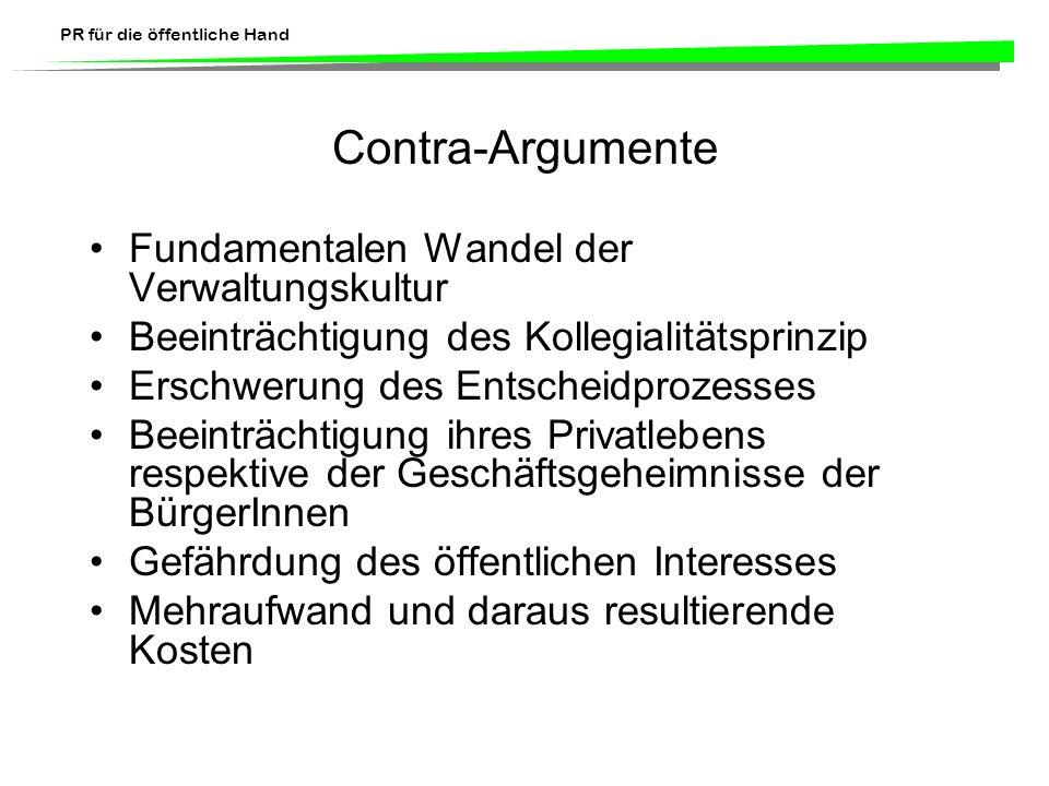 Contra-Argumente Fundamentalen Wandel der Verwaltungskultur