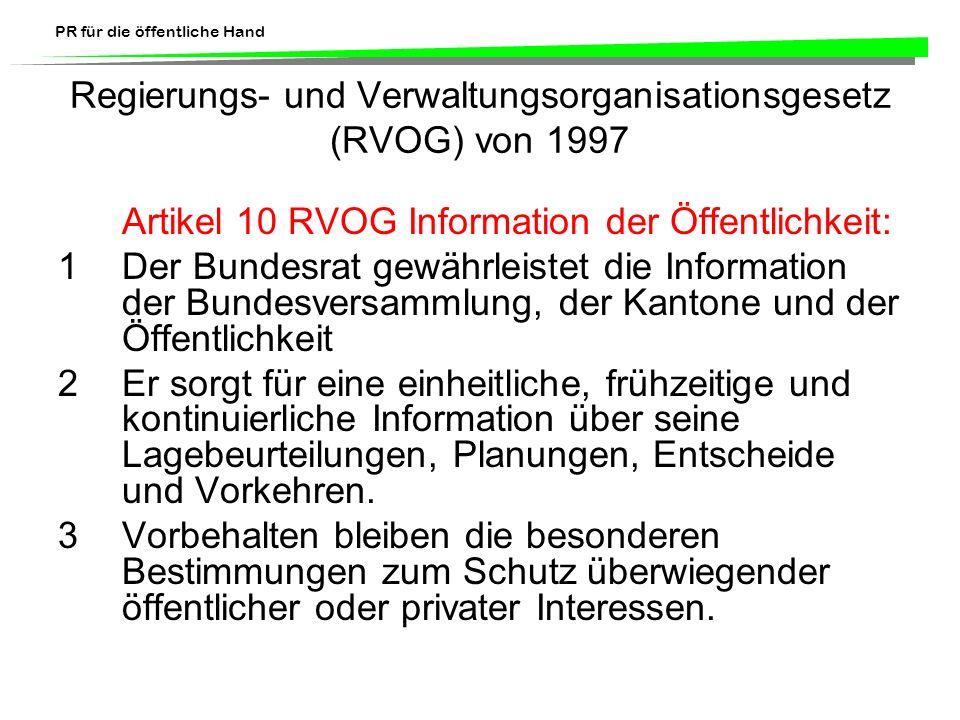 Regierungs- und Verwaltungsorganisationsgesetz (RVOG) von 1997
