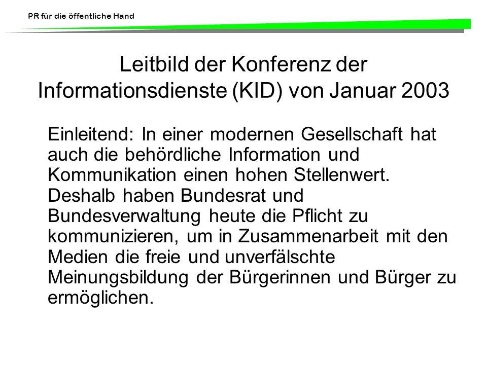 Leitbild der Konferenz der Informationsdienste (KID) von Januar 2003