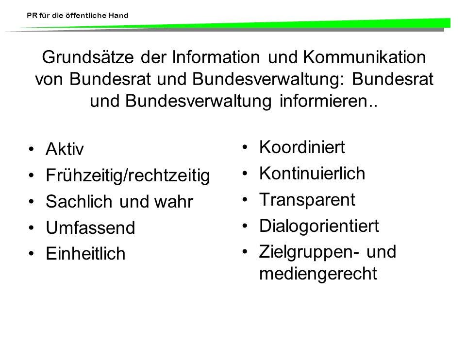 Grundsätze der Information und Kommunikation von Bundesrat und Bundesverwaltung: Bundesrat und Bundesverwaltung informieren..