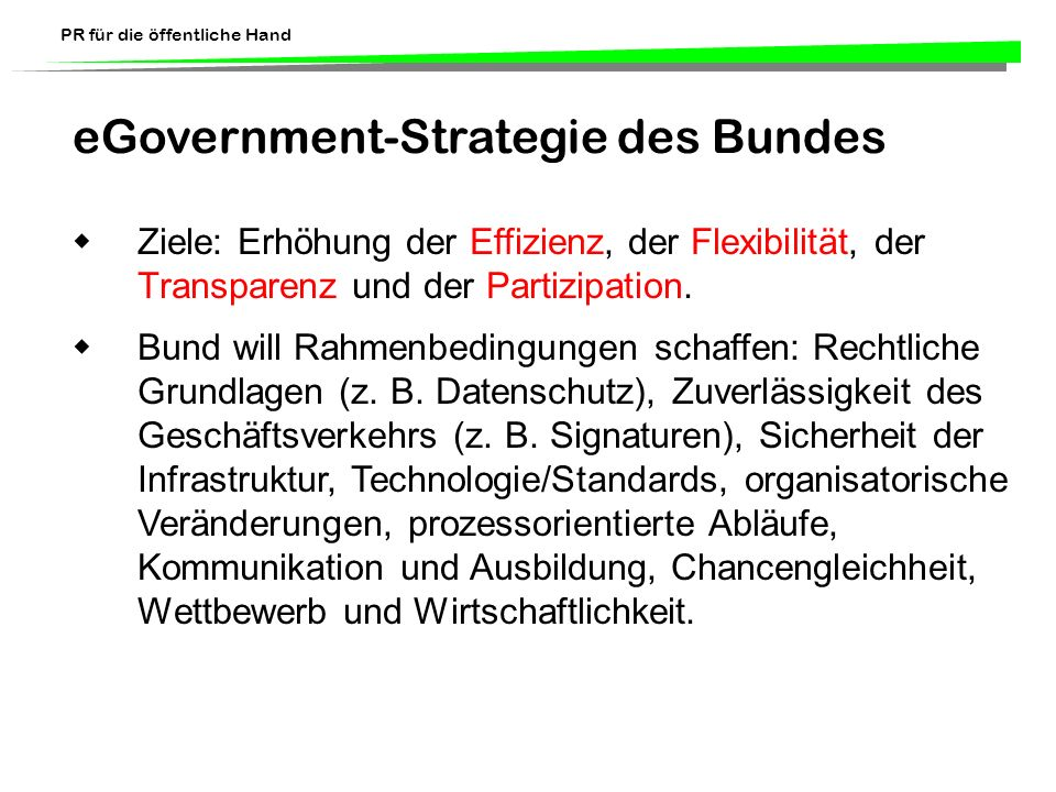 eGovernment-Strategie des Bundes