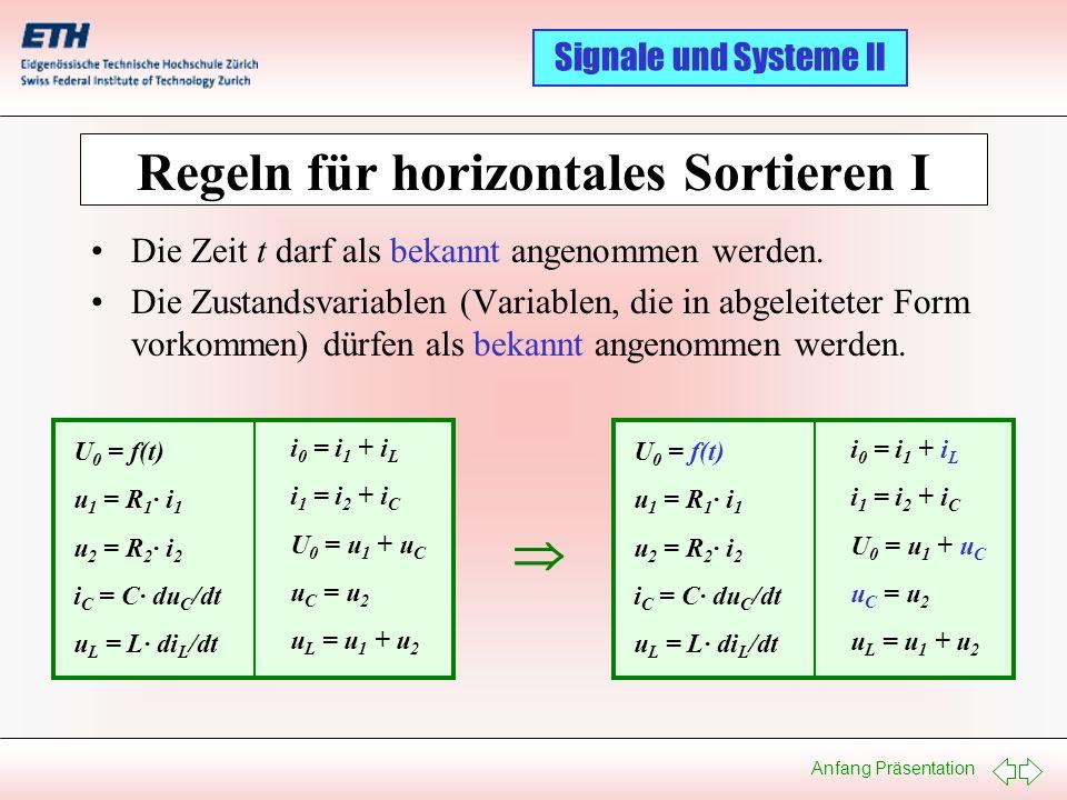 Regeln für horizontales Sortieren I