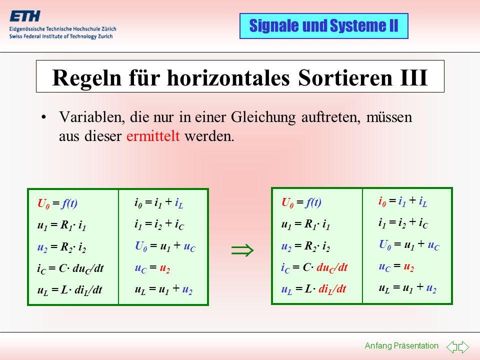 Regeln für horizontales Sortieren III