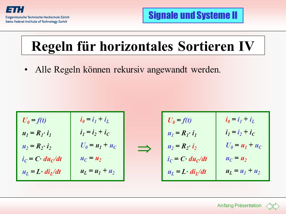 Regeln für horizontales Sortieren IV
