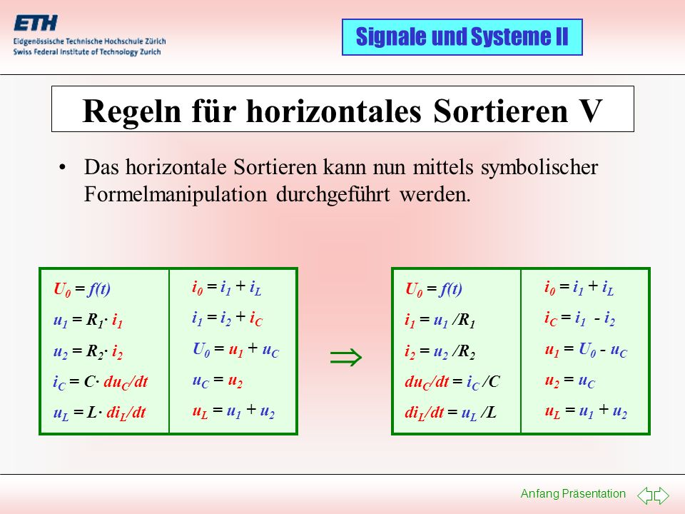 Regeln für horizontales Sortieren V