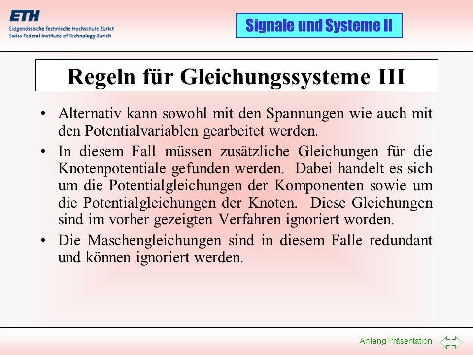 Regeln für Gleichungssysteme III
