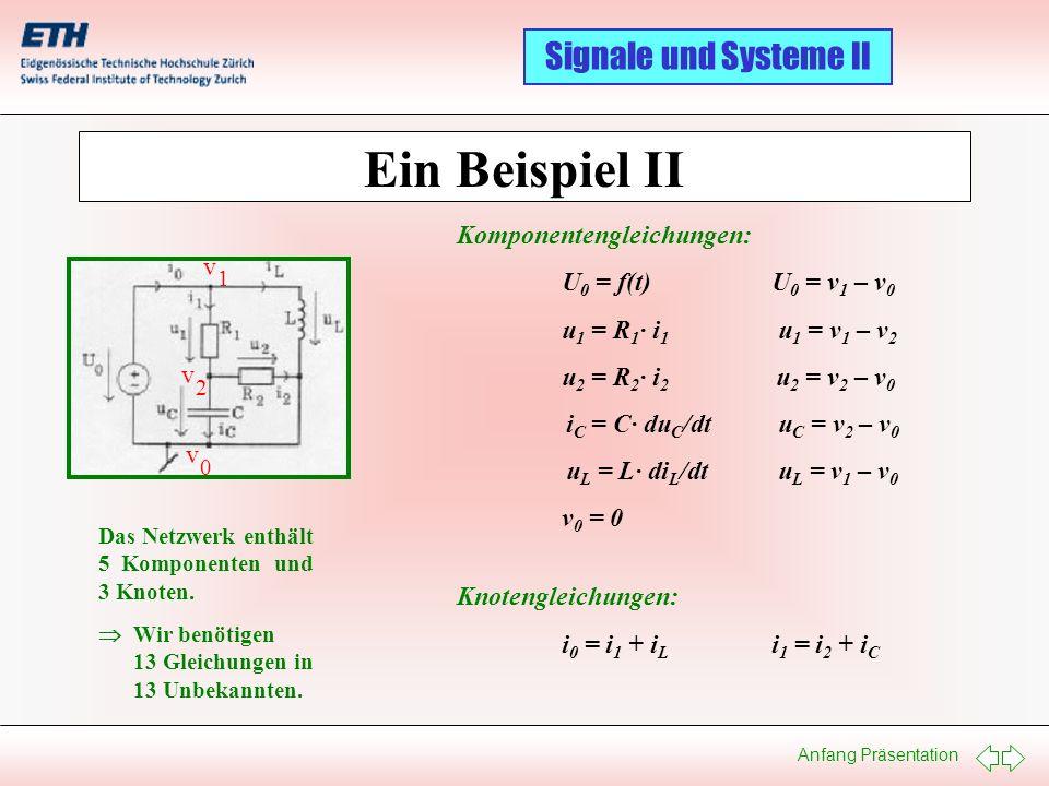 Ein Beispiel II Komponentengleichungen: U0 = f(t) U0 = v1 – v0 v